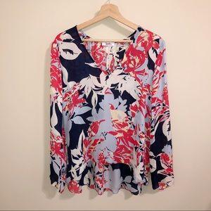 Parker Silk Floral High Low Vneck Blouse| M